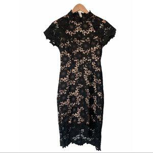 NEW Lulus Lace Floral Black Cream Midi Dress